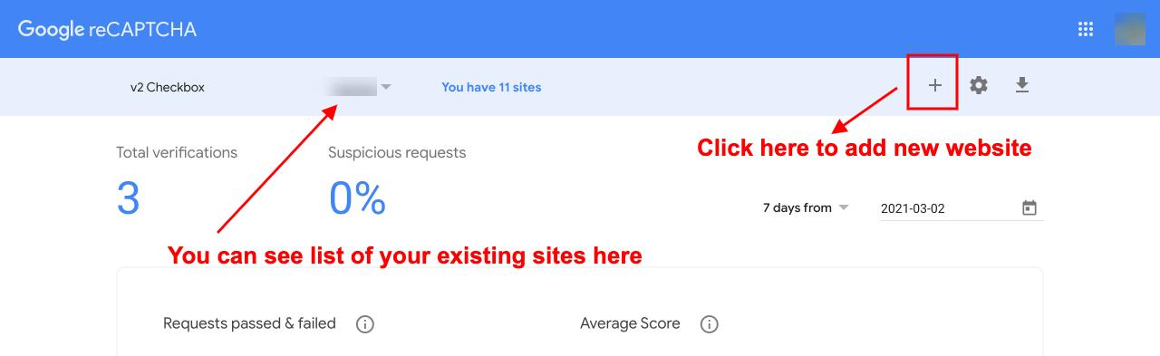 google recaptcha dashboard