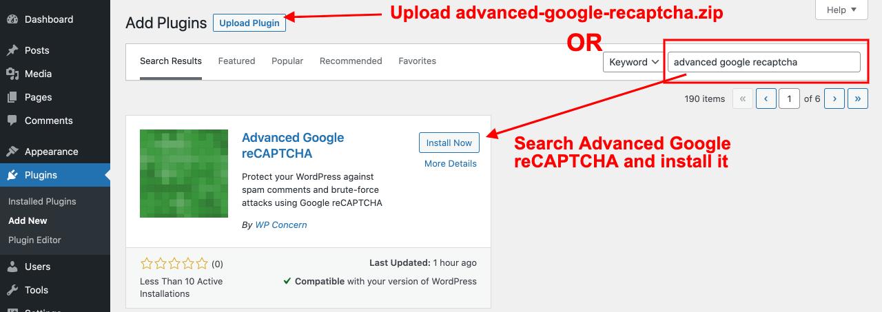 Advanced Google reCAPTCHA plugin installation options
