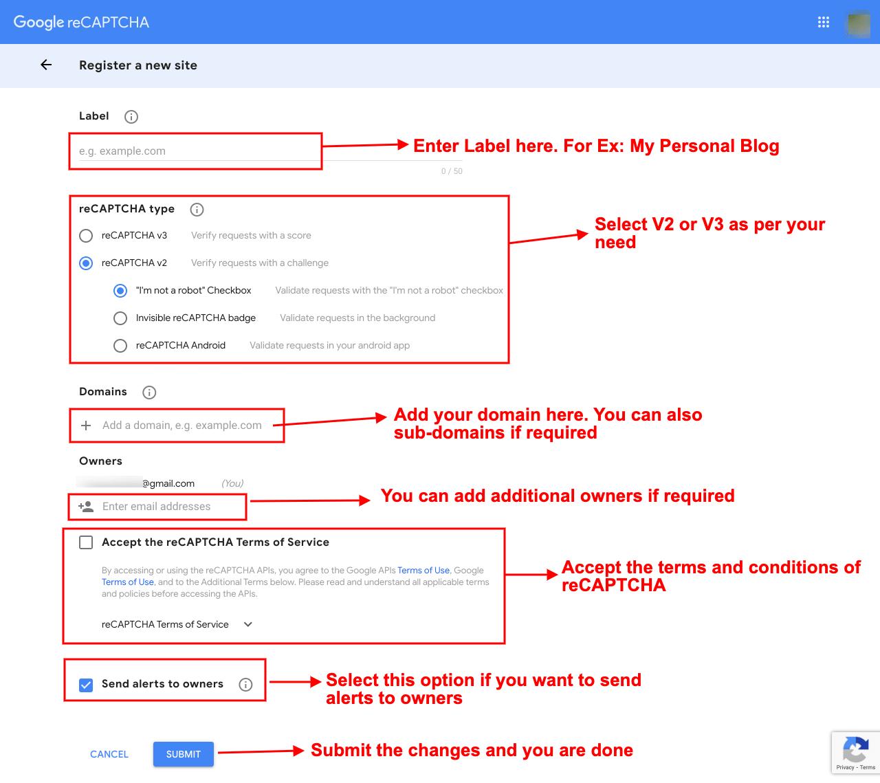 Register new site in Google reCAPTCHA