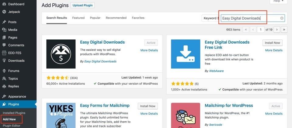 install easy digital downloads