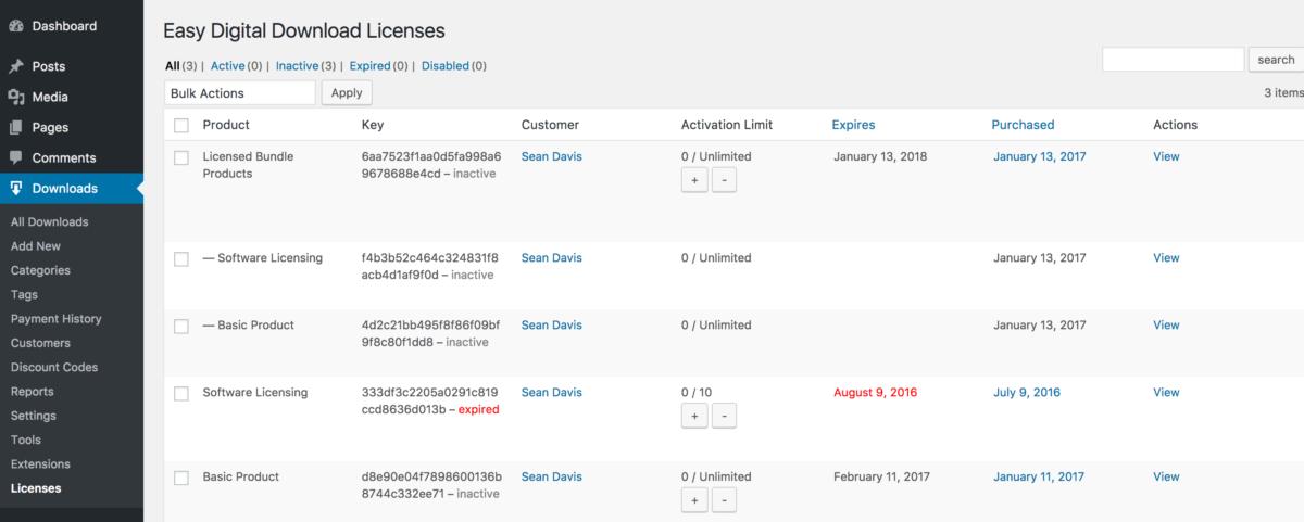 easy digital downloads software license keys
