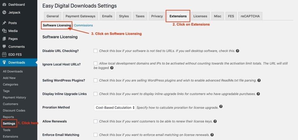 easy digital downloads software licensing setup