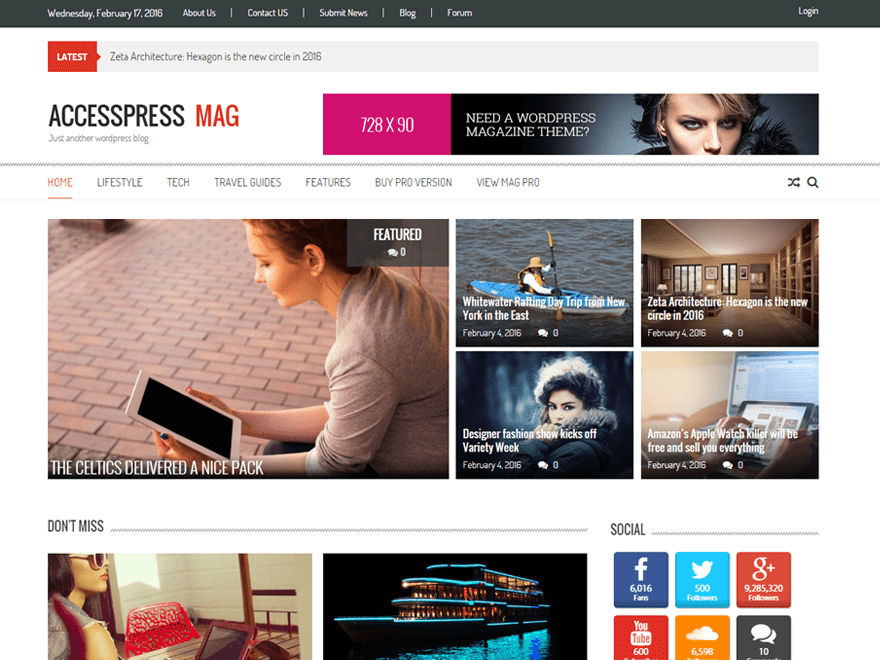Modern and clean WordPress magazine theme