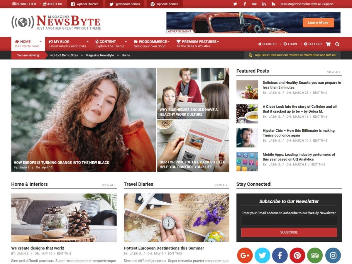 Unique WordPress magazine theme