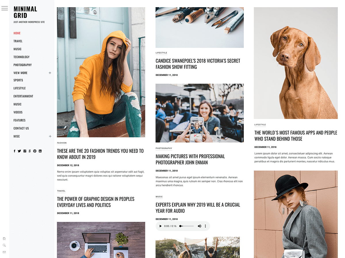 Minimal WordPress theme for Magazine and news site