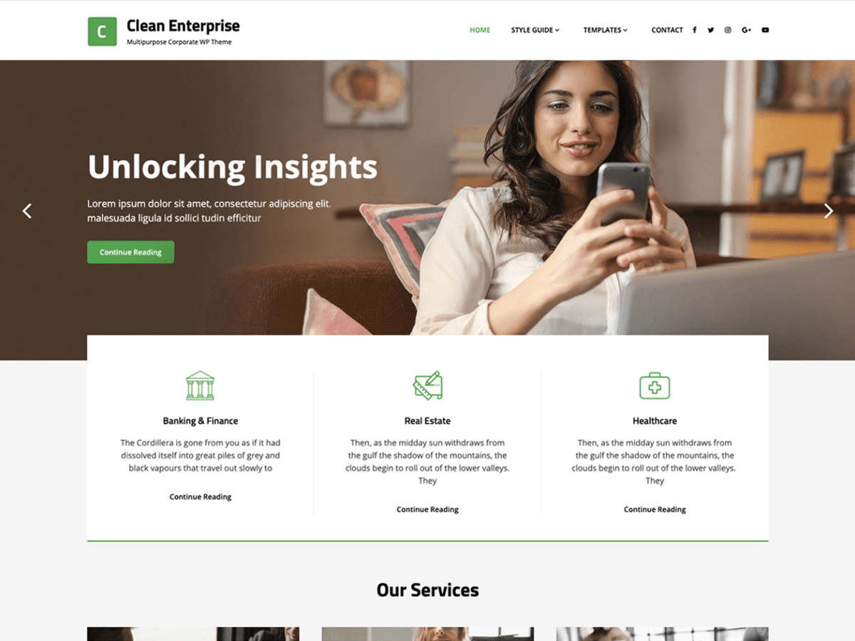 Clean Enterprise WordPress Theme