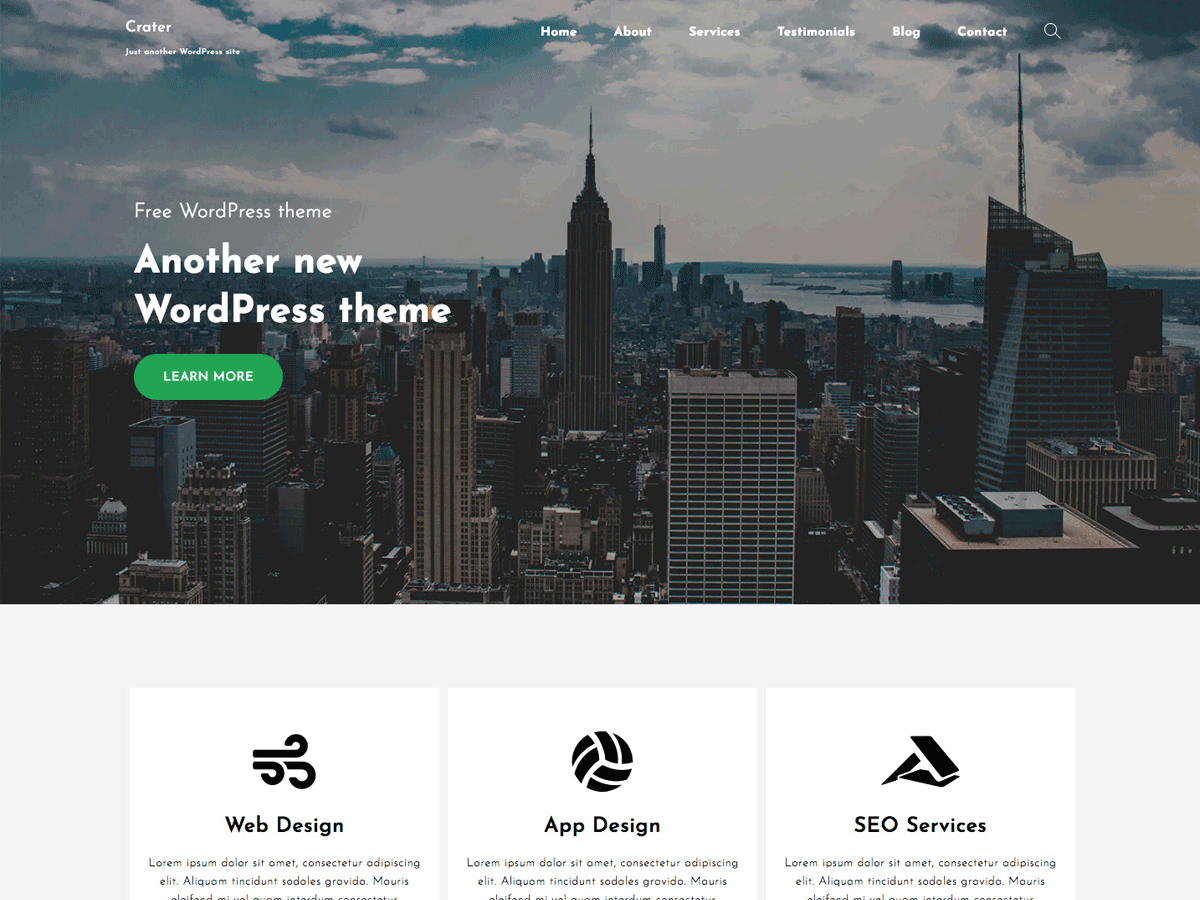 Crater Free WordPress theme