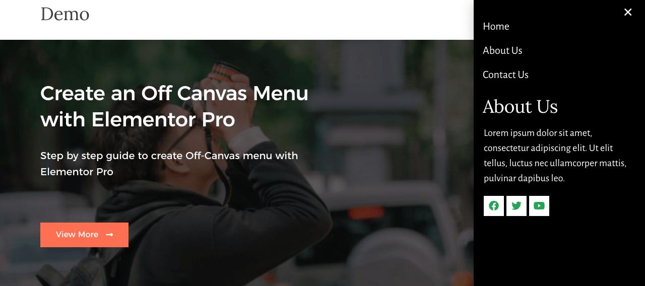 creating off canvas menu using elementor