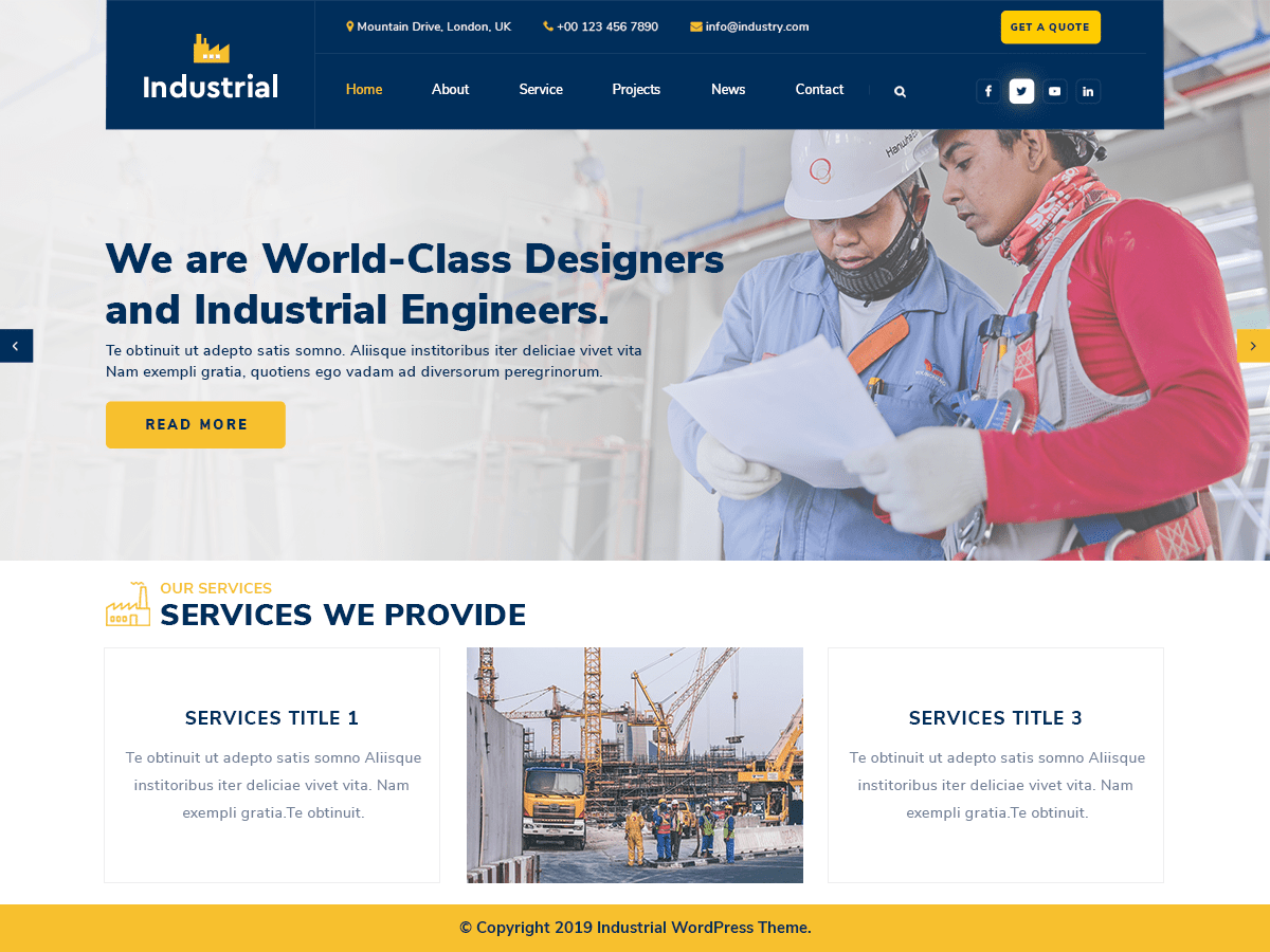 Industrial Lite WordPress theme
