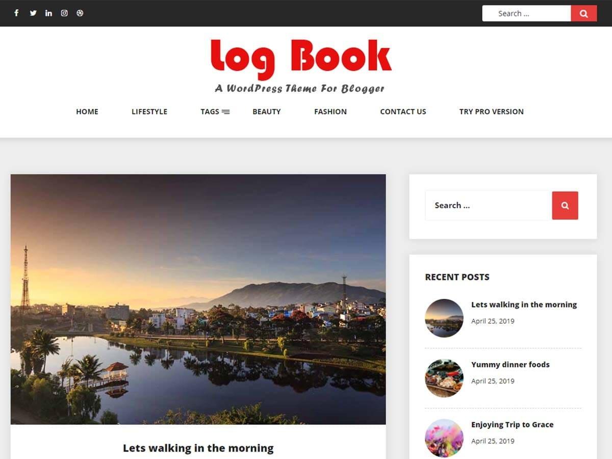 Log Book WordPress theme