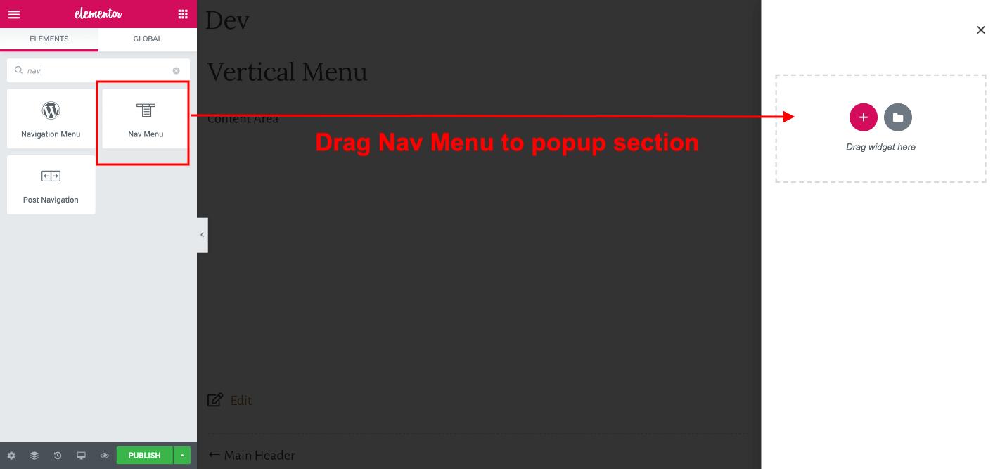 adding nav menu to popup section