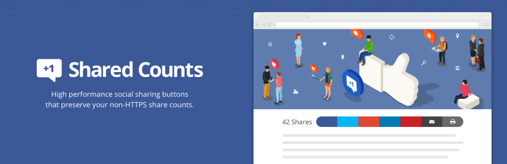 shared count with social media share buttons